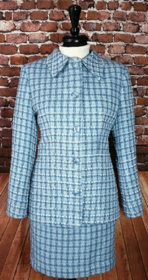 """Mary"" Blue & White Check 5 Button Suit"